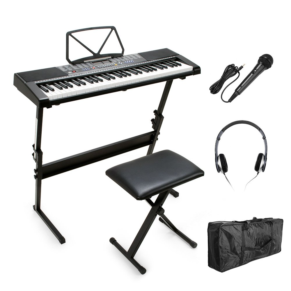 Vangoa 61 Keys MK-2108 Electronic Lighting LCD Display Keyboard Piano with Music Stand Screen with Stand, Bench, Microphone, Headphone, Keyboard Bag