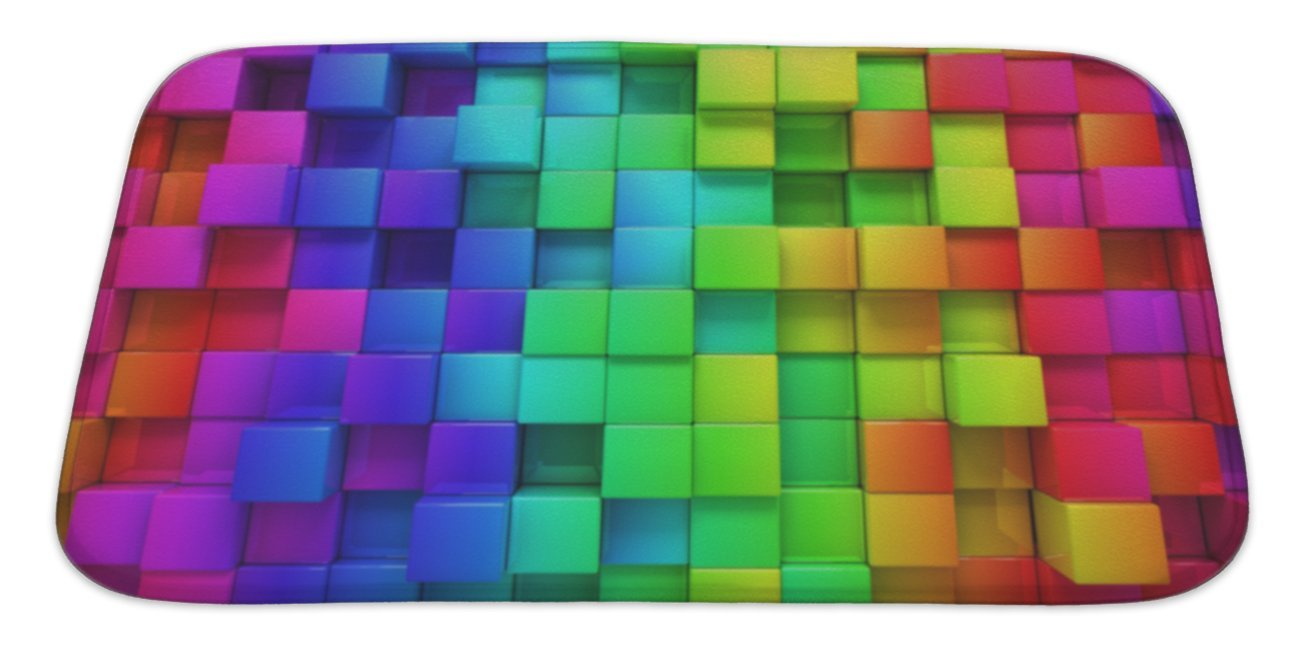 "Gear New Rainbow Of Colorful Boxes Bath Mat Rug, Microfiber Memory Foam with no skid back, 34""x21"" GN26295 high-quality"