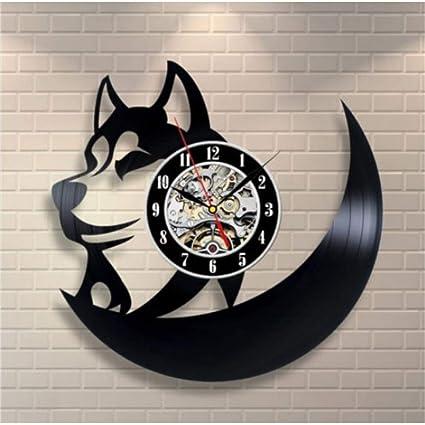 1221c4a0045 Amazon.com  Shuangklei Hot Cd Vinyl Record Wall Clock Modern Design Animal  Dog Cat Horse Wall Watch Classic Clock  Home   Kitchen