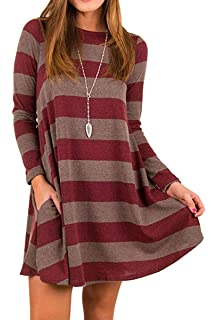 2b56033d51f Roolan Women s Crew Neck Long Sleeve Casual Swing Tunic Shirt Dresses Loose  Striped Midi Dresses with