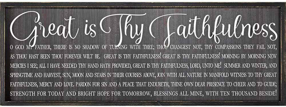 Dicksons Great is Thy Faithfulness 32 x 11 Wood Framed Wall Sign Plaque