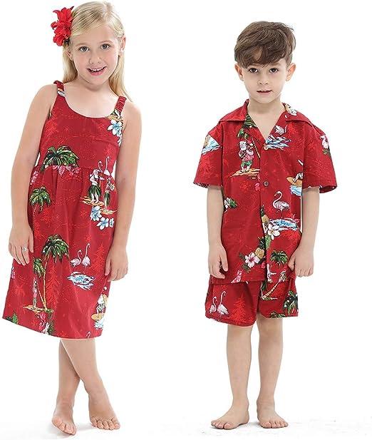 Matching Hermanos Niño Chica Hawaiano Luau Equipo Navidad Chica Vestido Chico Camisa Shorts Rojo Santa Flamingo: Amazon.es: Ropa y accesorios