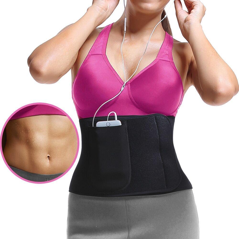 ROSERAIN Waist Trimmer - Waist Trainer Belt for Men & Women - Slimming Body Shaper Belt - Sport Girdle Belt, Stomach Fat Burner with Phone Bag
