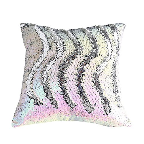 Fengheshun Reversible Sequins Pillowcase Mermaid Pillow Covers 40×40 cm Two Color Changing (Rainbow+Silver)