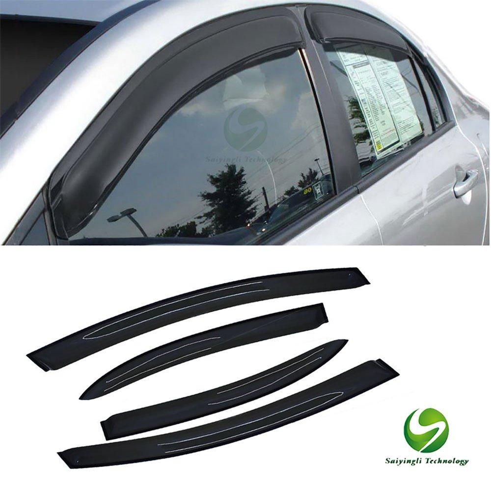 Saiyingli Technology for 06-11 Honda Civic 4-Door Sedan 4pcs Front Rear Smoke Sun/Rain Guard Vent Shade Window Visors