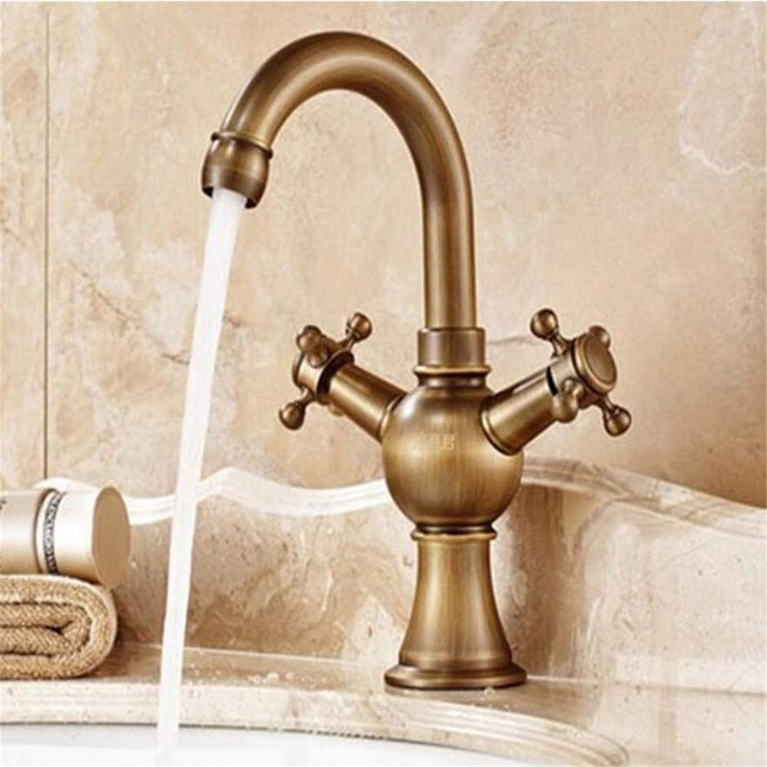 Retro Kitchen Hot and Cold Water 360 Degree redation Faucet Above Counter Basin Copper Antique Hot and Cold Kitchen Washing Dishes Wash Mixed