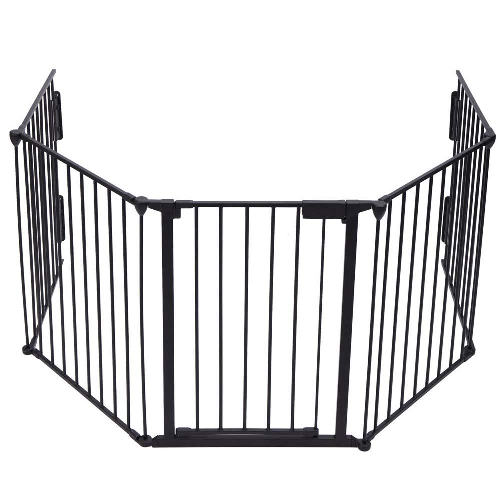 Fireplace Fence Baby Safety Gate Walk-Through Door Dog Pet Guard 5 in 1 Metal Fence Black