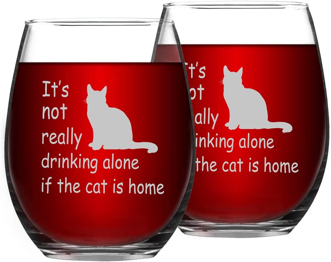 Set of 2 Cat Wine Glasses, It's Not Really Drinking Alone If The Cat is Home Funny Stemless Wine Glass - Funny Gifts for Women, Friends, Cat Lovers, Cat Mom, 15Oz
