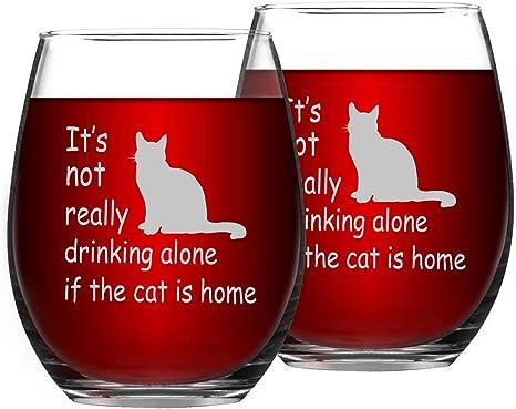 Cat Mom Wine Glass  Stemless Wine Glass  Etched Wine Glass