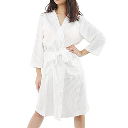 5ab0f626009 sourcingmap Women s Turkish Cotton Robe Waffle Kimono Robe Knit Unisex  Bathrobe Lightweight Loungewear Sleepwear (White