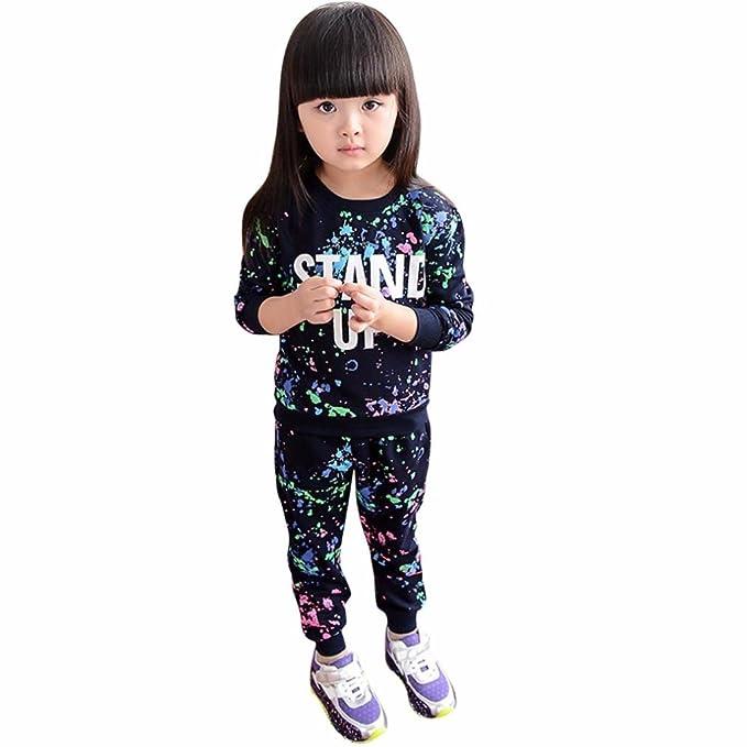 c9627294c69c Amazon.com  Elevin(TM)Kid Girls Fashion Paint Letters Long Sleeve ...