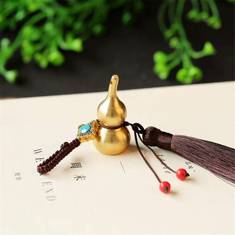 6.2 WEISIPU Feng Shui Coins with Brass Calabash Tassels Wu Lou Key Chain Calabash Decorations Longevity Decorations Pendant Chinese Gourd Brass