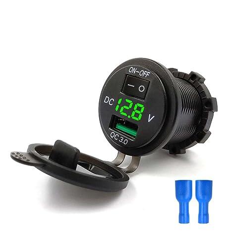JENOR - Cargador de coche USB 3.0 de carga rápida con interruptor de voltímetro LED para coche marino ATV
