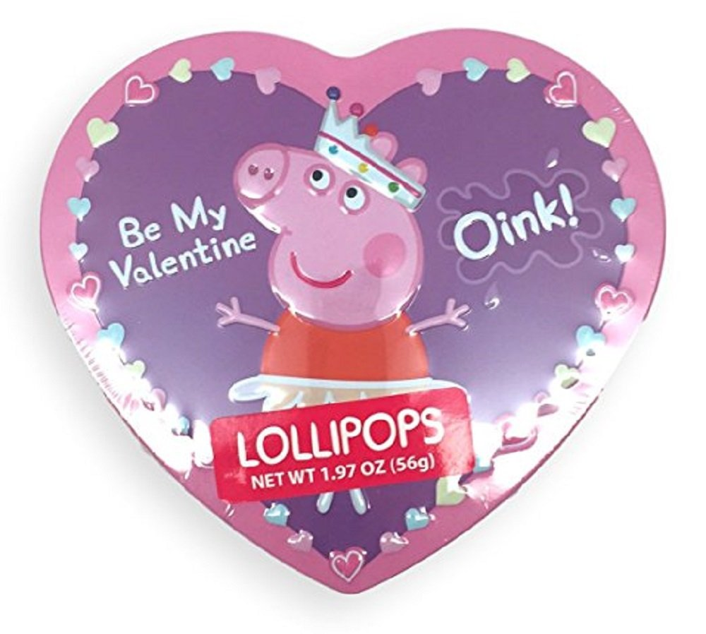 Amazon.com: Peppa Pig Valentine Tin Heart Box With Lollipops~ 1.97 Oz: Toys  U0026 Games