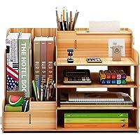 FOCCTS Wooden Desktop Organizer for Office Supplies Storage Shelf Rack - Book Shelf, Stationary Compartment Holder, Mail…