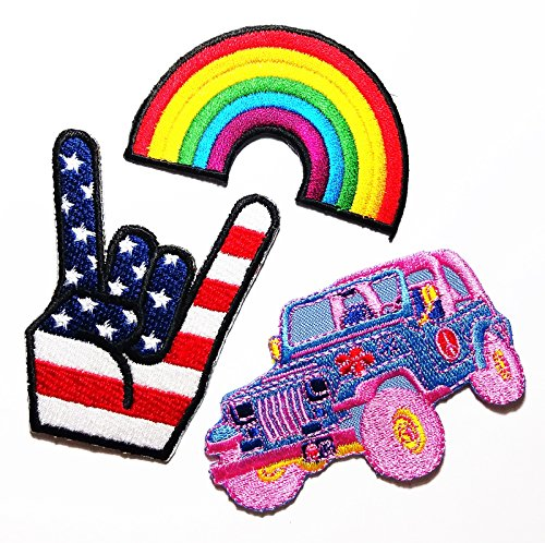 PP patch Set 3 Rainbow Flag Retro Love , finger Punk Rock us flag , Jeep Off Road Car Cartoon Kid DIY Applique Embroidery Iron on Patch