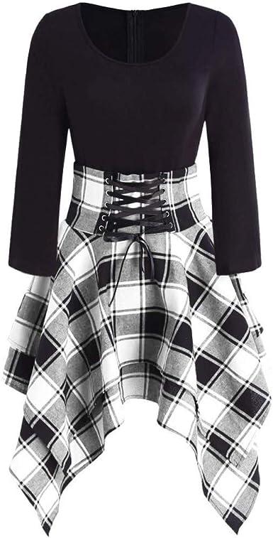 Vestido Falda Jumpsuit Vestido asimétrico con impresión Escocesa ...