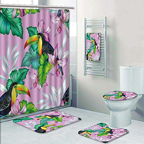 Nalahome Designer Bath Polyester 5 Piece Bathroom Setamaz With Toucan Bird Tropical Flowers
