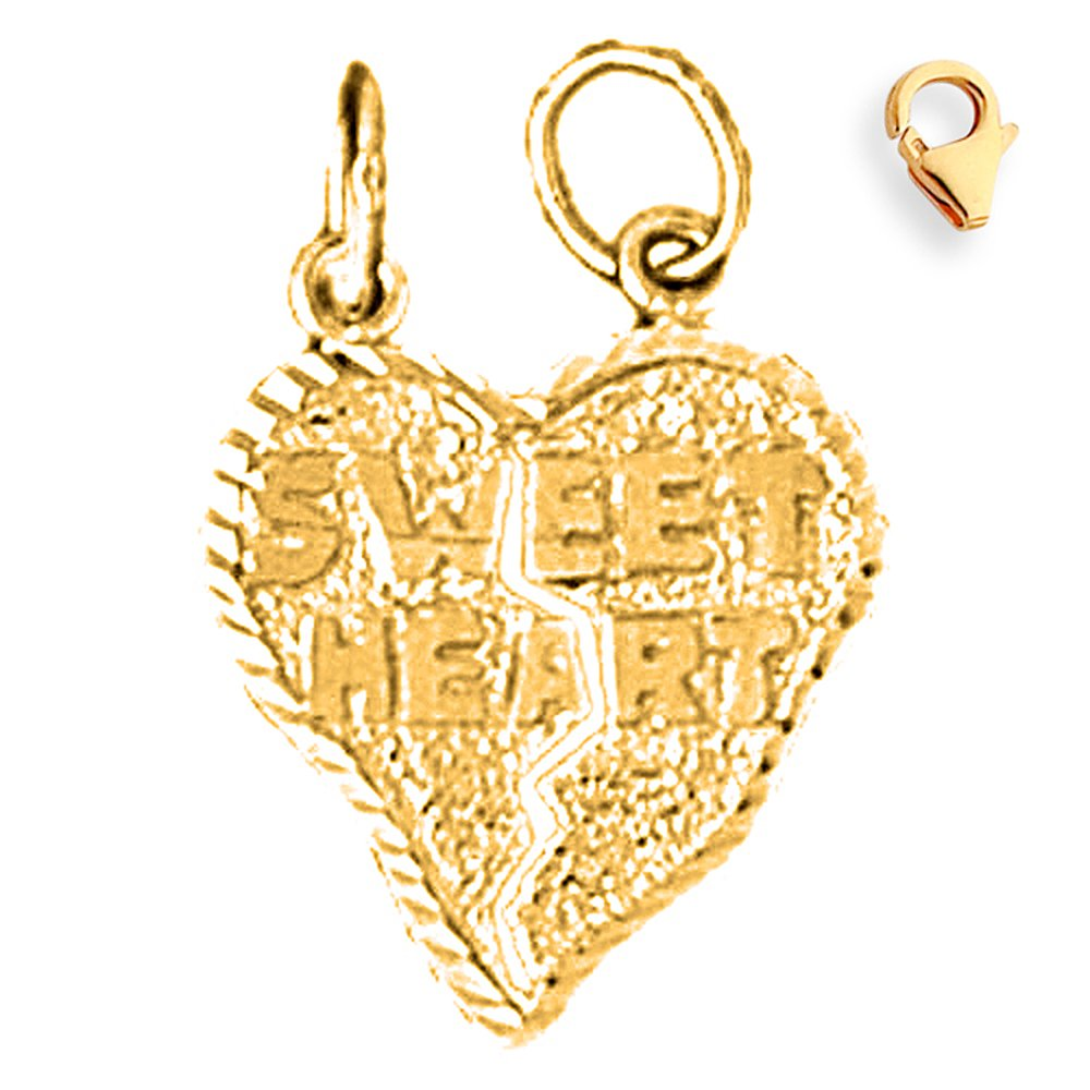 Jewels Obsession 14K Yellow Gold Sweetheart Saying Pendant 15 mm