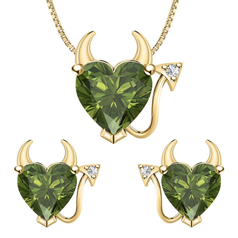 tusakha Heart Shape Green Tourmaline /& White CZ Diamond 14k Yellow Gold Plated 925 Sterling Silver Devil Jewelry Set Earrings Pendant Necklace