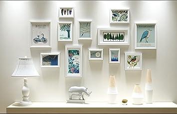AI XIN SHOP Amerikanische Holzwand Bild Fotorahmen Galerie Schlafzimmer  Restaurant Wand Sammlung Dekoration (Farbe :