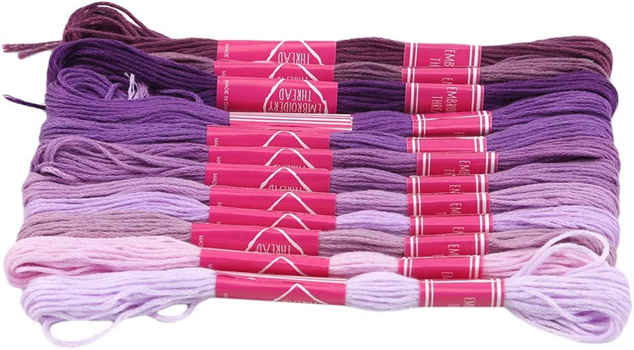 JIFNCR Embroidery Threads 12 Skeins Per Pack Gradient Color Embroidery Floss Cross Stitch Threads Floss Craft Floss Rainbow Color Embroidery Art,Blue