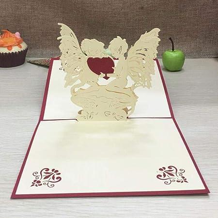 YAOJII 1 pcs Tarjetas emergentes 3D con sobre Cumpleaños ...