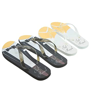 49ea7ac94 Just Married Tux   Wedding Dress Design His   Hers Twin Flip Flop Set  Ladies Up ...