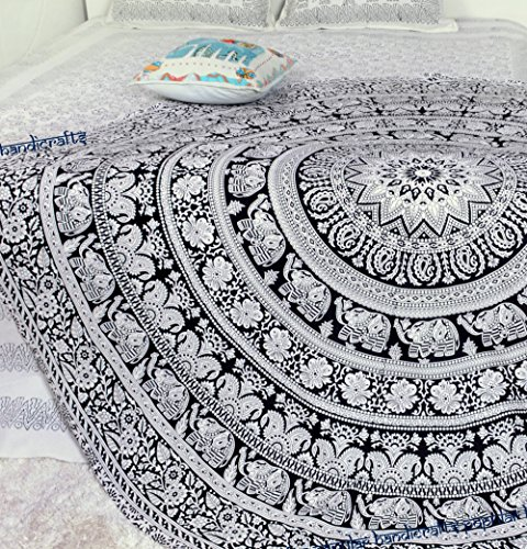 Popular Round tapestry Elephant mandala Roundie Beach Throw Indian Tapestry Hippie Yoga Mat Décor urban tapestry round table cloth by Popular Handicrafts (Circle Divider Room)