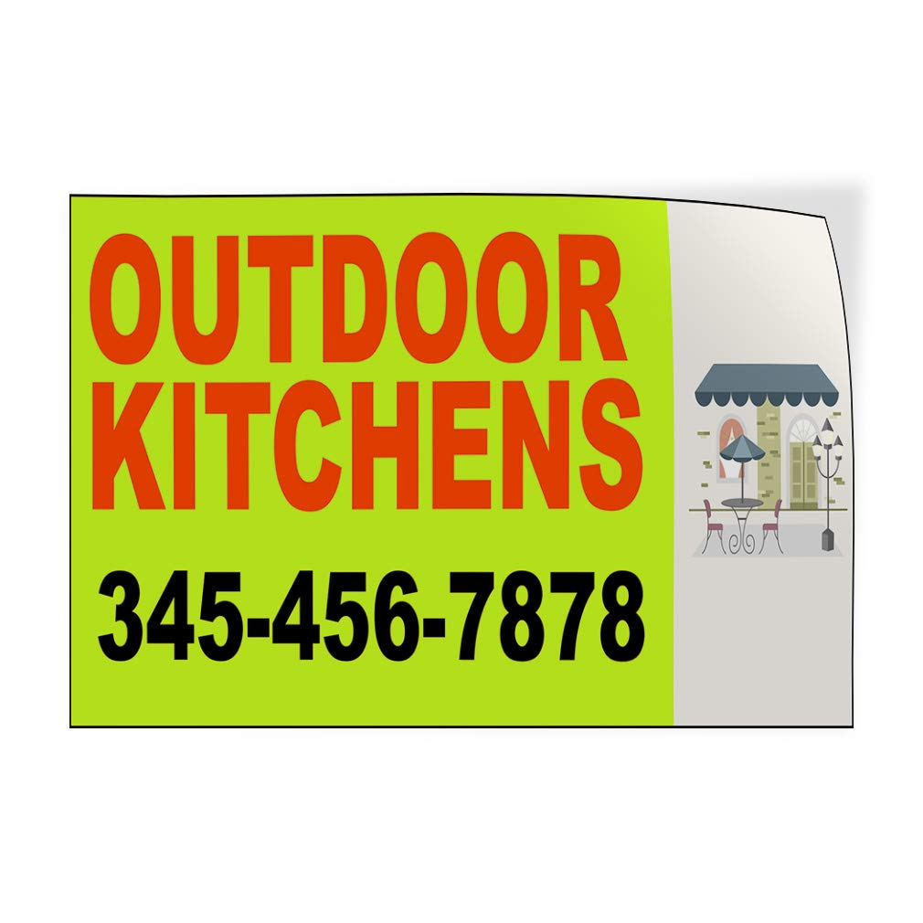 Custom Door Decals Vinyl Stickers Multiple Sizes Outdoor Kitchens Phone Number Green Retail Outdoor Kitchens Outdoor Luggage /& Bumper Stickers for Cars Green 64X42Inches Set of 2