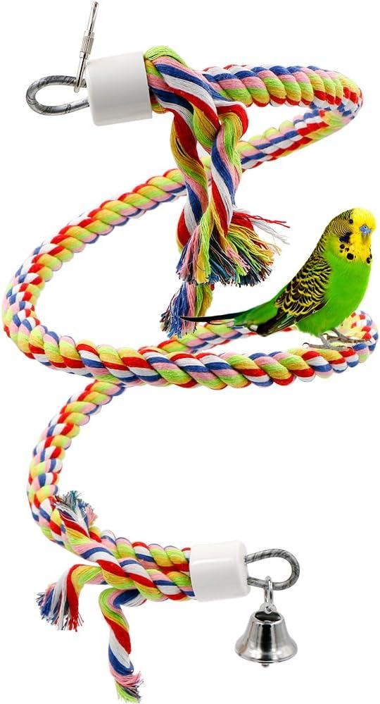 Rusee Juguete de Pájaro Bungee Cuerda, Pequeño o de Tamaño Mediano Juguete de Loro Puro Natural Colorido Perla Jaula Loro Juguete de Mascar