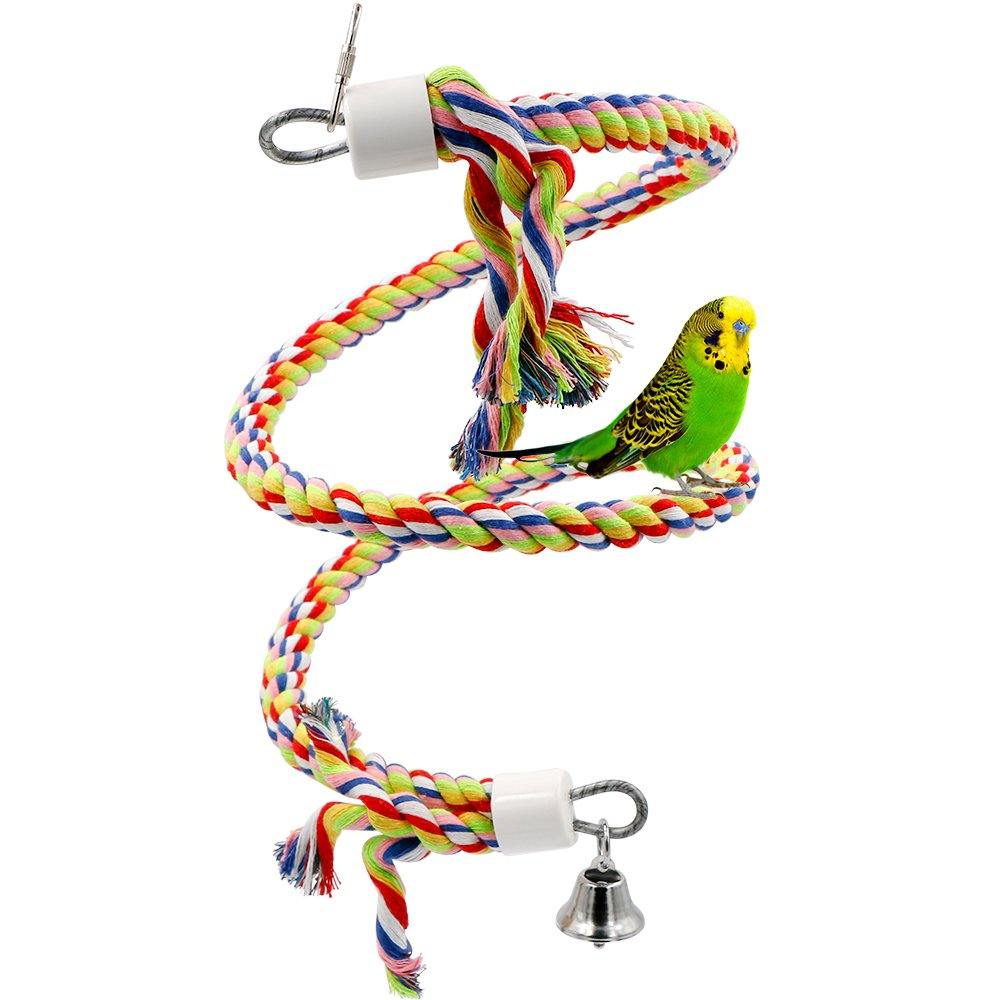Rusee Rope Bungee Bird Toy, Small or Medium-Sized Parrot Toy Pure Natural Colorful Bead Cage Parrot Chewing Toy by Rusee