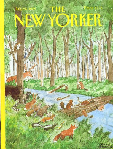 New Yorker cover Addams forest critters watch beavers build bridge 7/24 1989