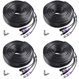 Masione 4 Pack 100ft HD Video Power Security Camera Cable with BNC RCA Connectors Pre-made All-in-One Extension Wire Cord for 1080P 960H & HD-CVI 960P CCTV Surveillance Camera DVR System