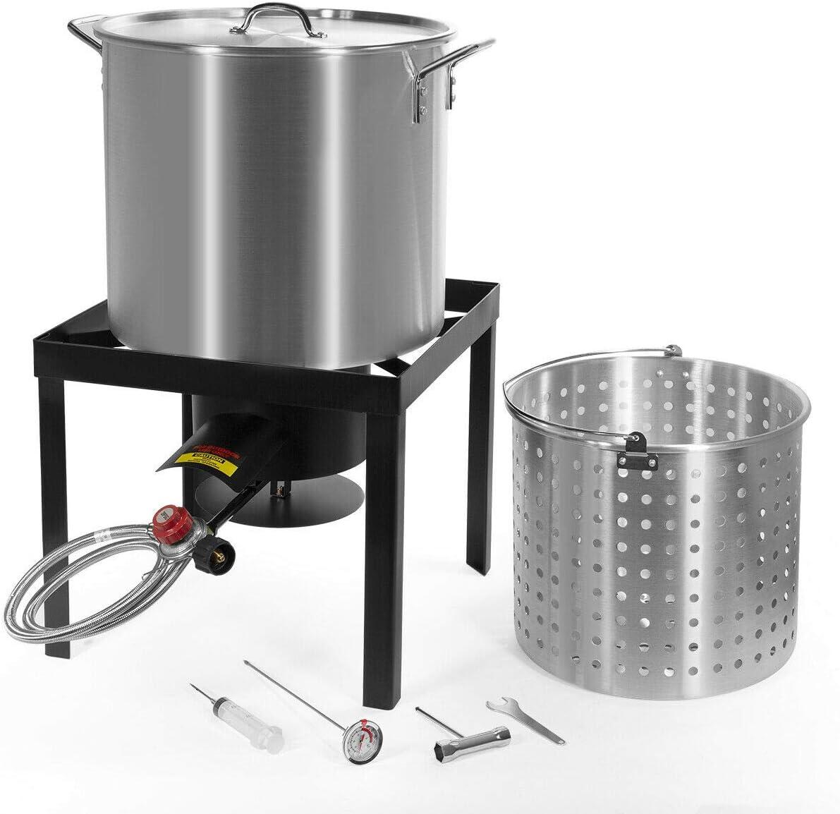 9TRADING X-Large 64 Qt Aluminum Turkey Deep Fryer Kit Stock Pot Propane LP Outdoor Burner