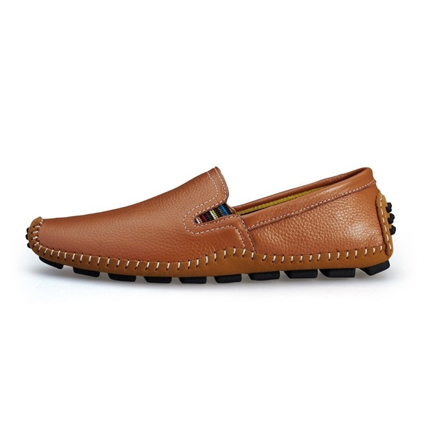 Handmade Soft Men's Natural Leather Shoes Casual Slip On Driving Loafers Good Stitching