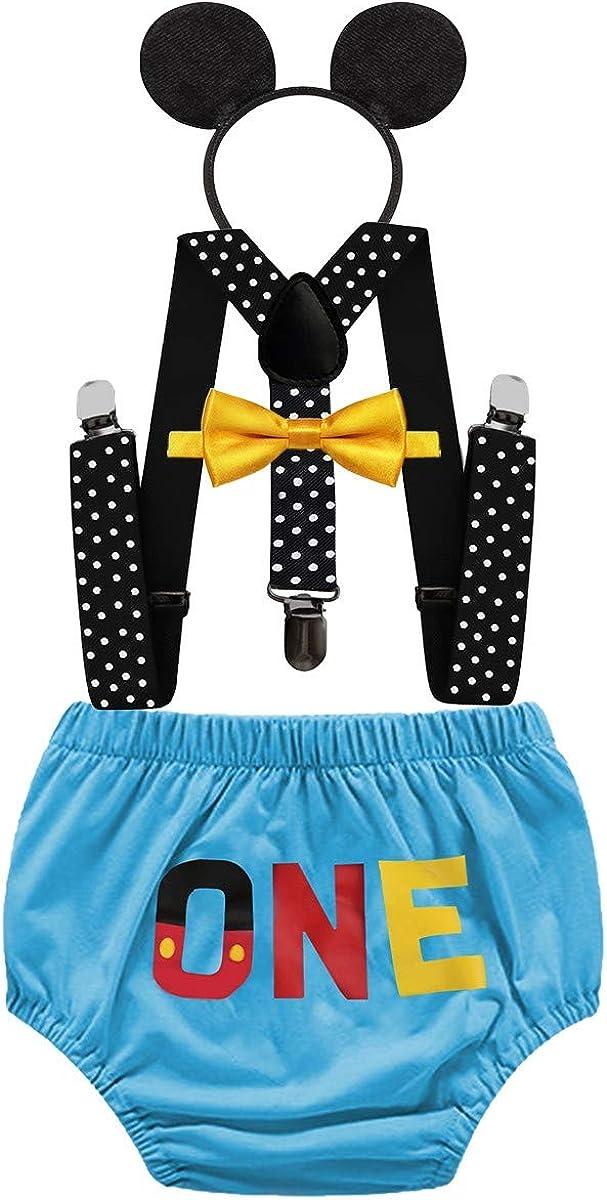 IZKIZF Baby Cartoon Outfit 1st Birthday Cake Smash Photo Prop Bow Tie Suspender Bloomers Headband Baby Shower Costume