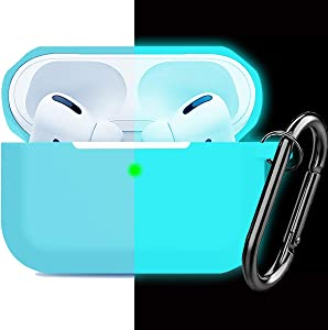 Compatible AirPods Pro Case Cover Silicone Protective Case Skin for Apple Airpod Pro 2019 (Front LED Visible) Nightglow Blue
