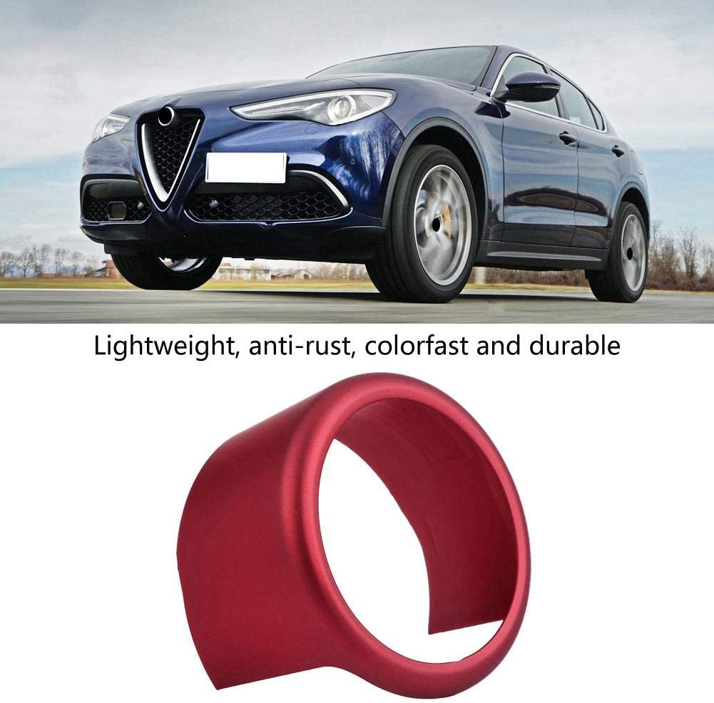 KIMISS Car Decorative Front Grill Logo Ring Trim Frame Cover for Alfa Romeo Stelvio 2017-2019 Red