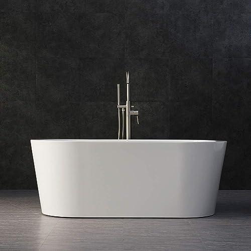 WOODBRIDGE BTA-1506 Acrylic Freestanding Bathtub Contemporary Soaking Tub with Brushed Nickel Overflow and Drain, BTA1506, 59 B-0012