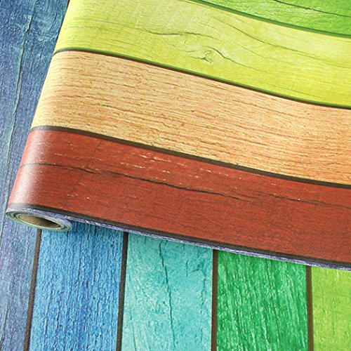 Decorative Self Adhesive Rainbow Wood Panel Grain Contact Paper Shelf Drawer Liner for Kitchen Cabinets Backsplash Countertop Table Furniture Wall Arts Decal 24 Inches by 9.8 Feet