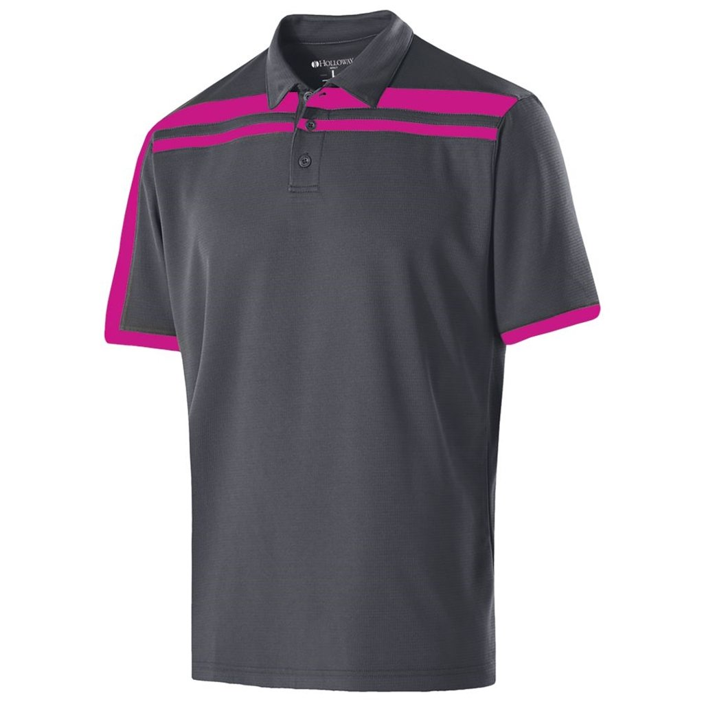 Holloway Dry-Excel Mens Charge Polo (Small, Carbon/Power Pink) by Holloway