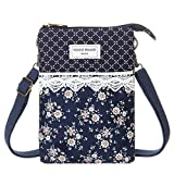 Cell Phone Purse Wallet Lace Canvas Small Crossbody Bags For Women(Blue)