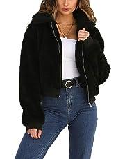 Gogoboi Fashion Women Warm Lapel Faux Fur Coat Fleece Shearling Jacket with Pockets for Winter