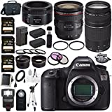 Canon EOS 5DS 5D S DSLR Camera + EF 24-70mm f/4L IS USM Lens + Canon EF 75-300mm f/4-5.6 III Telephoto Zoom Lens + Canon EF 50mm f/1.8 STM Lens + LPE-6 Lithium Ion Battery Bundle 12