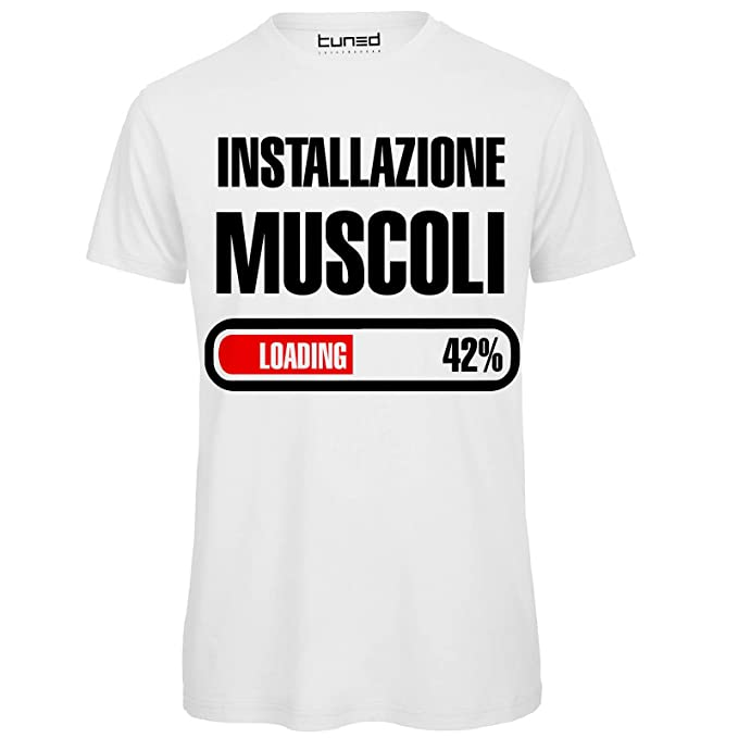 the latest 50265 2dad6 CHEMAGLIETTE! T-Shirt Divertente Uomo Maglietta Frase Simpatica Palestra  Installazione Muscoli Tuned