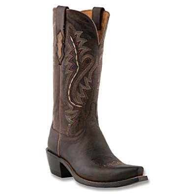 Lucchese Women's Handcrafted 1883 Madras Goat Cowgirl Boot Snip Toe  Chocolate 6 ...