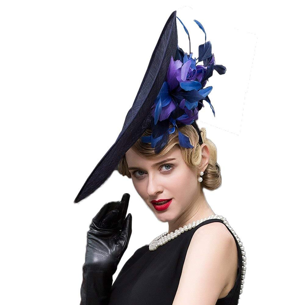 F FADVES Sinamay Vintage Women Fascinator Hats for Women Tea Party Royal Large Brim Wedding Dress Derby Hat Blue by F FADVES