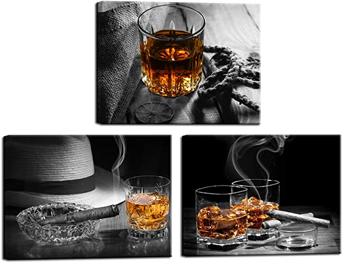 Nachic Wall - Canvas Prints Wall Art Whiskey Cigar with Black and White Backgaroud Pictures Painting Vintage Western Wall Decor for Kitchen Bar Pub Gallery Canvas Wrapped Ready to Hang