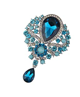 Broche Fantaisie Strass Goutte d'eau Epingle Pin's Femme Bijoux A Mode Bleu